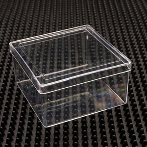 Square friction fit plastic craft box and lid item no for Plastic craft boxes with lids